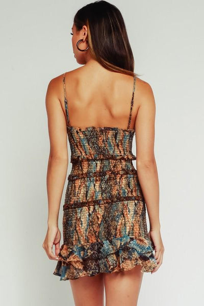 Brown Teal Snake Mini Dress