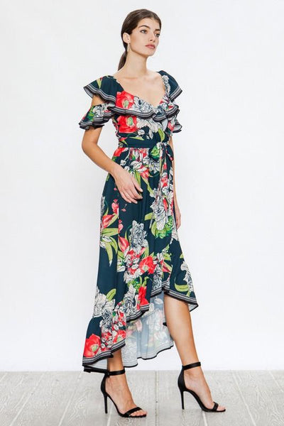 Navy and Floral Wrap Dress