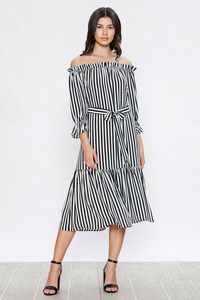 Charming Black and White Striped Maxi Dress