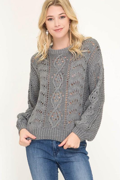 Grey Bubble Sleeve Cable Knit Sweater