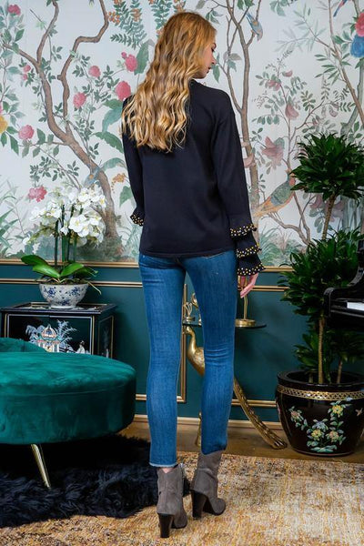 Black Accent Ruffle Sleeve Sweater - THE WEARHOUSE