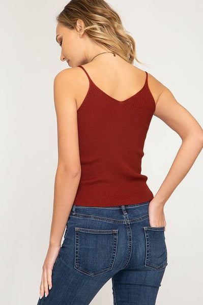 Rust Colored V-neck Cami Top