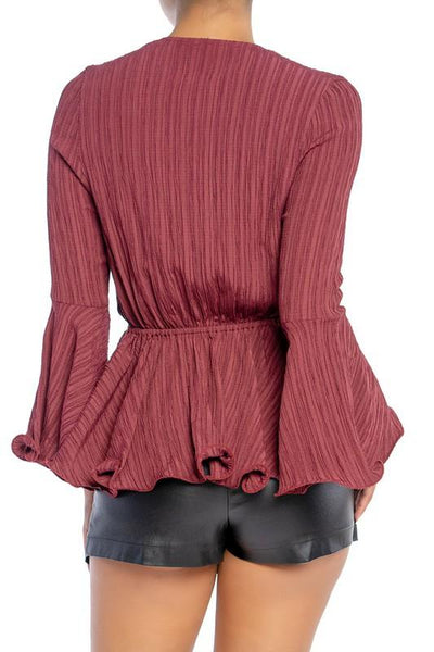 Wine Colored Textured Wavy Hem Blouse