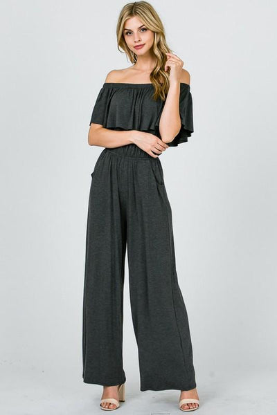 Charcoal Off Shoulder Jumpsuit - THE WEARHOUSE