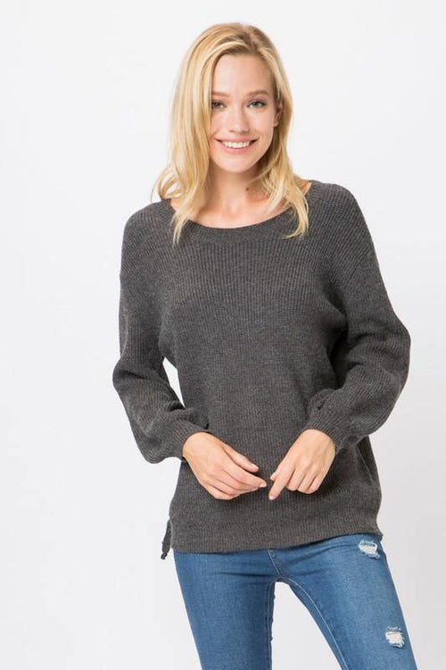 Charcoal Knit Pullover Sweater