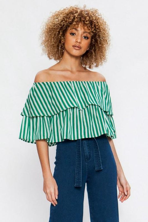 Green and White Off the Shoulder Top