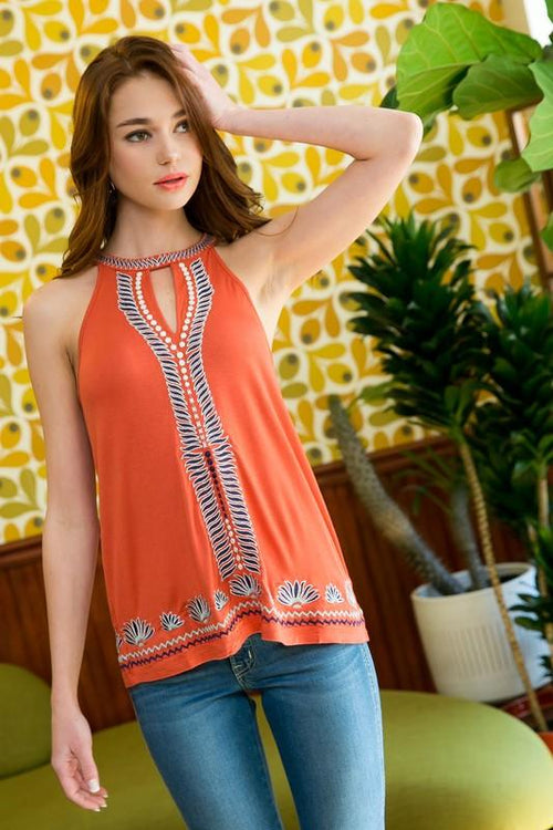Rust Colored Embroidered Halter Top