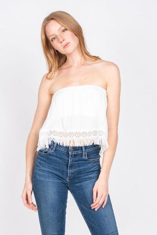 White Strapless Lace Trim Crop Top