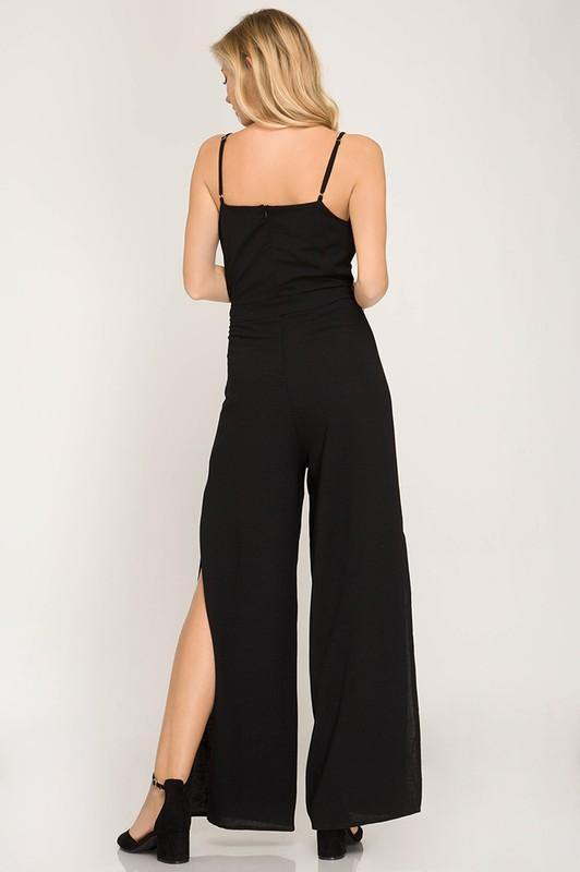 Classy Black Jumpsuit with Tie - THE WEARHOUSE