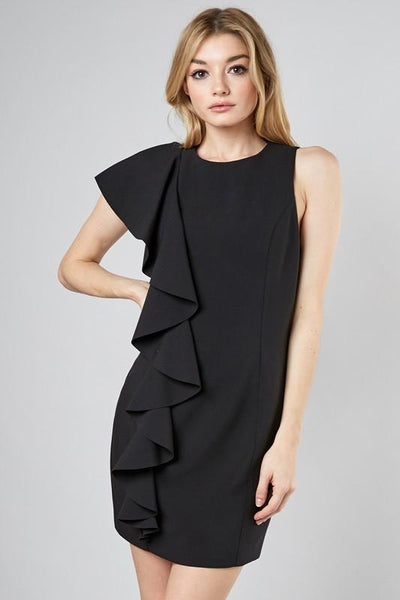 Black Lavish Ruffle Cascade Dress