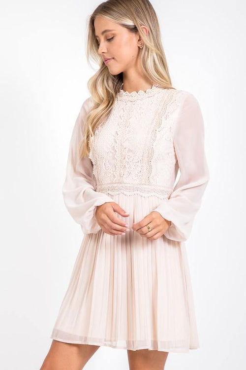 Ivory Lace Accordion Dress
