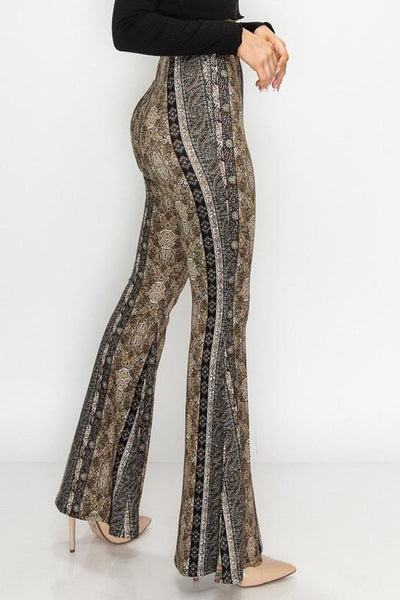 Black Paisley Printed Flare Pants
