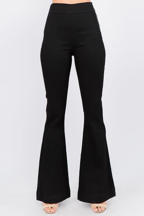 Bia Black Elastic Waist Flare Jeans - THE WEARHOUSE