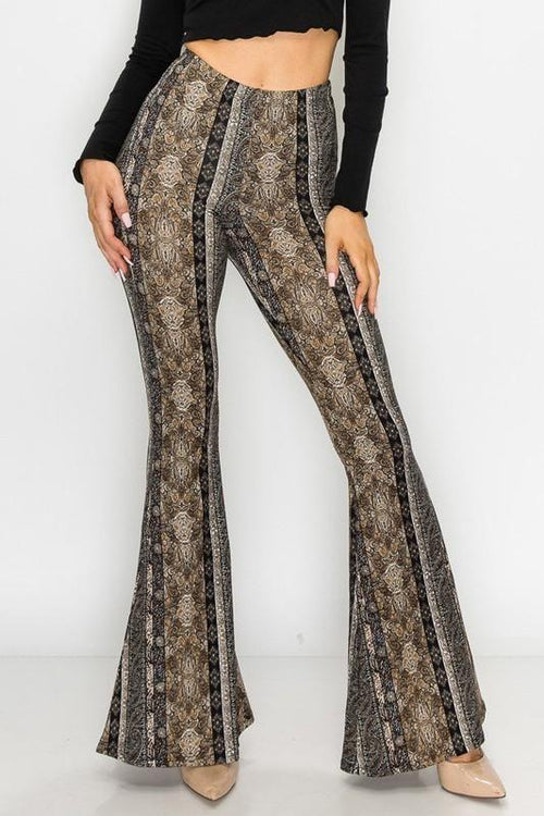 Black Paisley Printed Flare Pants - THE WEARHOUSE