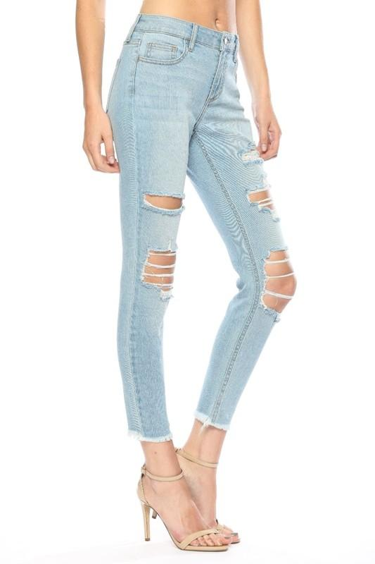 Monroe Mid Rise Distressed Crop Skinny Jeans - THE WEARHOUSE