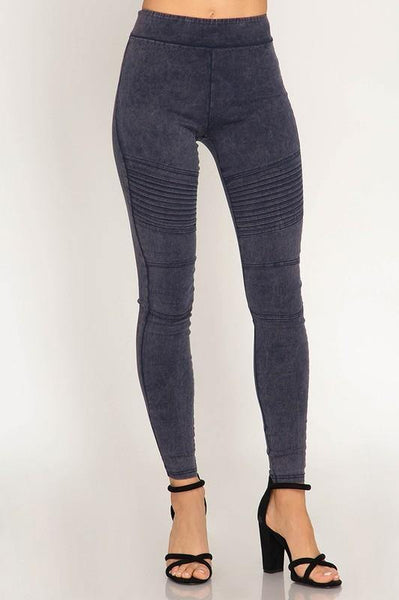 Navy Mineral Washed Pleated Leggings