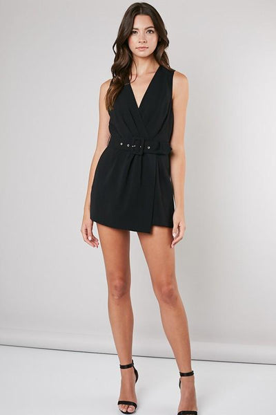 Black Ruched Surplice Romper
