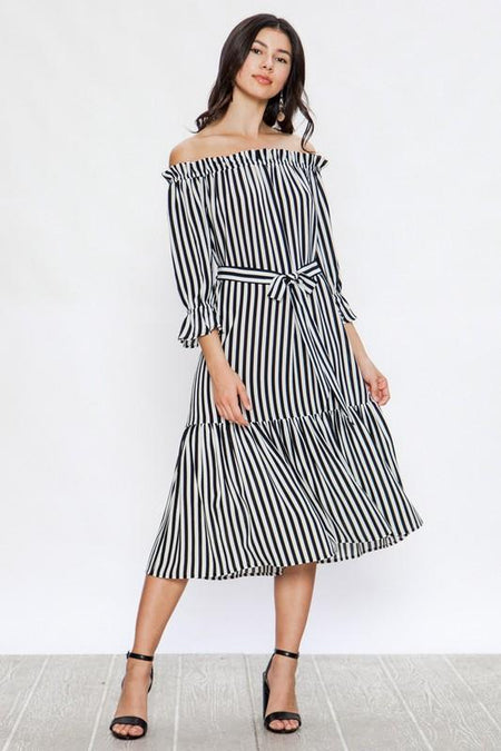 Black Striped Button Down Shirt Dress