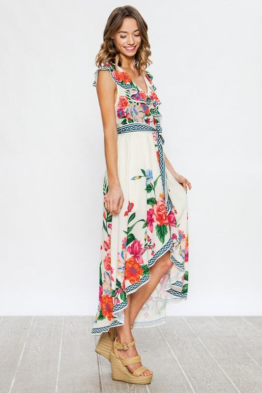 Rose Garden Ivory and Floral Wrap Dress