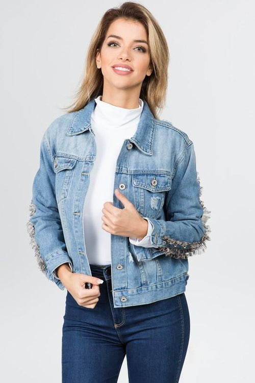 Sally Light Denim Jacket with Lace Detail
