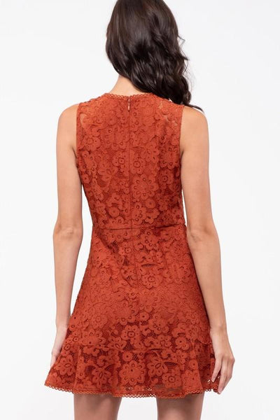Rust Colored Evening Lace Dress - THE WEARHOUSE