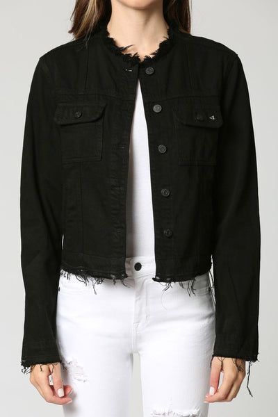 Blakely Black Collarless Fitted Jacket