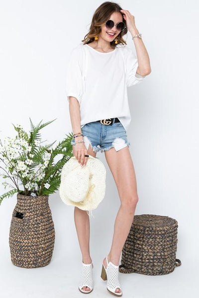White Loose Fit Puff Sleeve Top