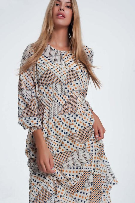 Black Diamond Print V Neck Dress