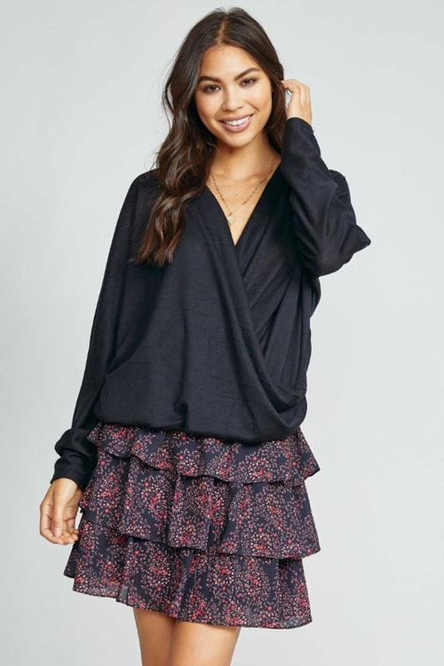 Black Knit Wrap Top - THE WEARHOUSE