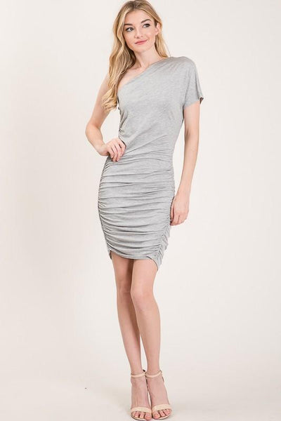 Heather Grey One Shoulder Braided Trim Midi Dress