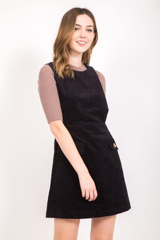 Black Corduroy Sleeveless Dress - THE WEARHOUSE