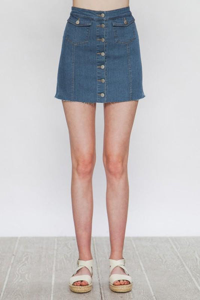 """The Ashley"" Button Down Denim Skirt - THE WEARHOUSE"