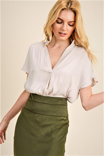 Stone Colored V-Neck Sarah Silky Blouse