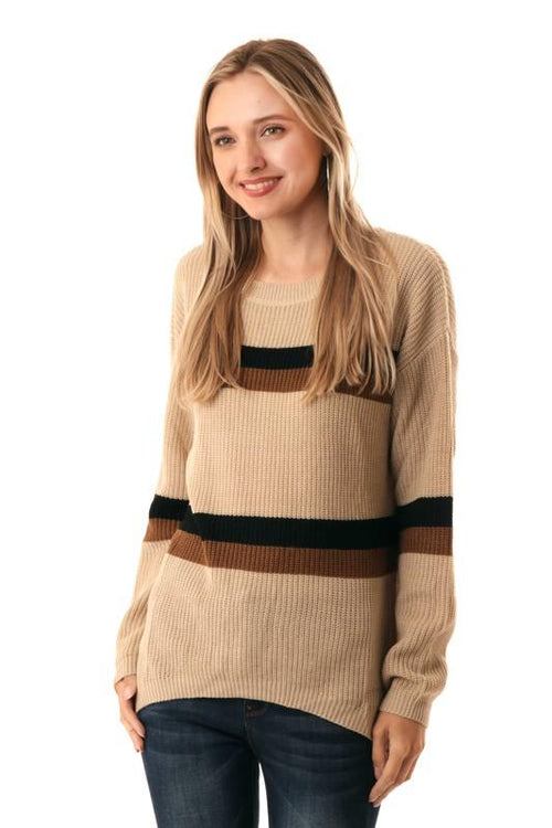 Camel Striped Long Sleeve Sweater