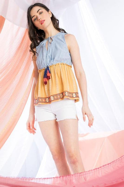 Blue and Yellow Sleeveless Surplice Top
