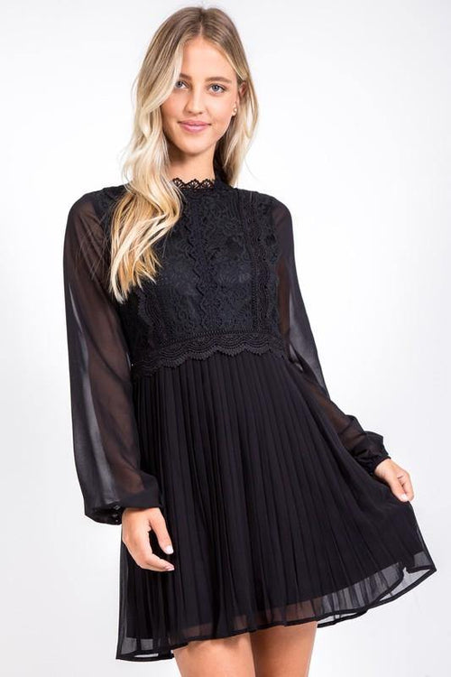 Black Lace Accordion Dress - THE WEARHOUSE