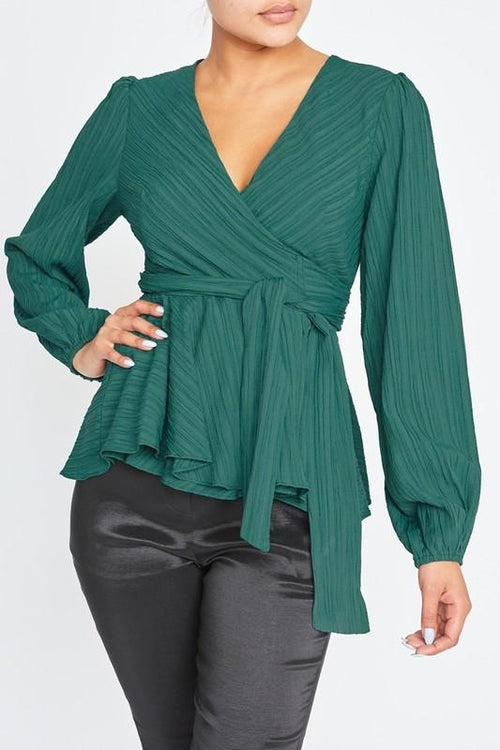 Green Wrap Crinkle Blouse