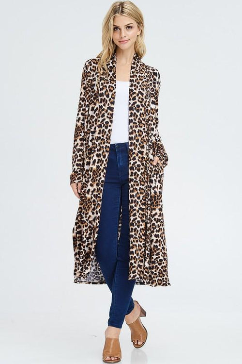 Black and Brown Leopard Long Cardigan - THE WEARHOUSE