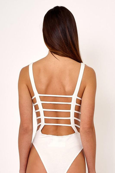 White Lattice Cut Out Back Bodysuit - THE WEARHOUSE