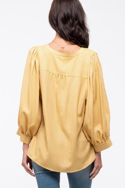 Mustard Colored Balloon Sleeve Pinstriped Top
