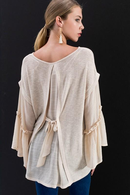 Beige Bell Sleeve Sweater - THE WEARHOUSE