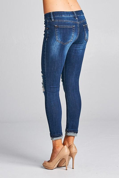 Daisy Double Cuffed Ankle Skinny Jeans