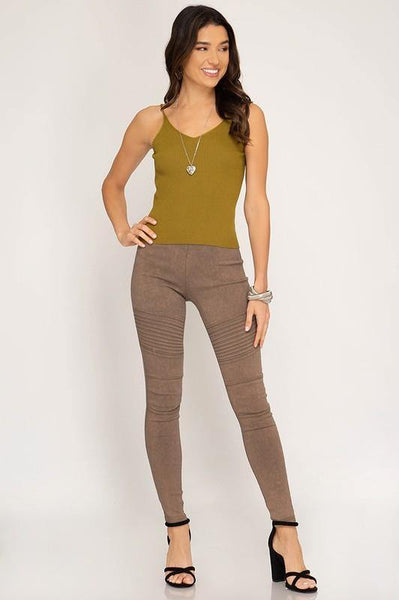 Taupe Mineral Washed Pleated Leggings