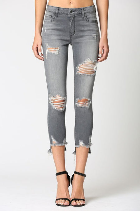 Atomic High Rise Button Up Distressed Skinny Jeans