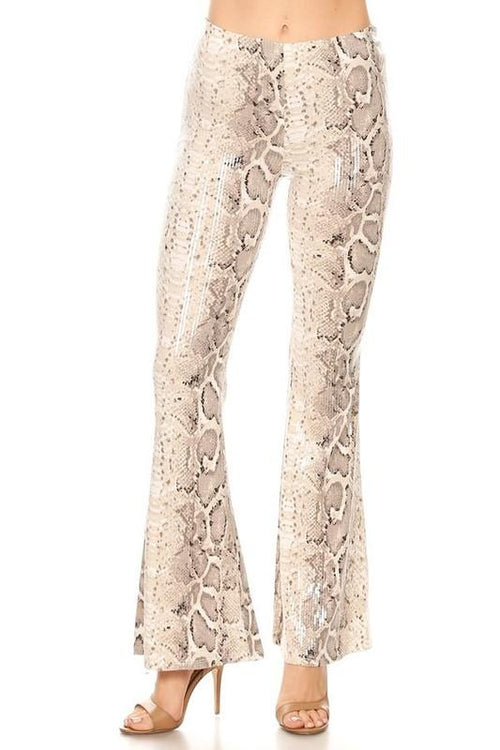 Grey Snakeskin Printed Bell Bottom Pants