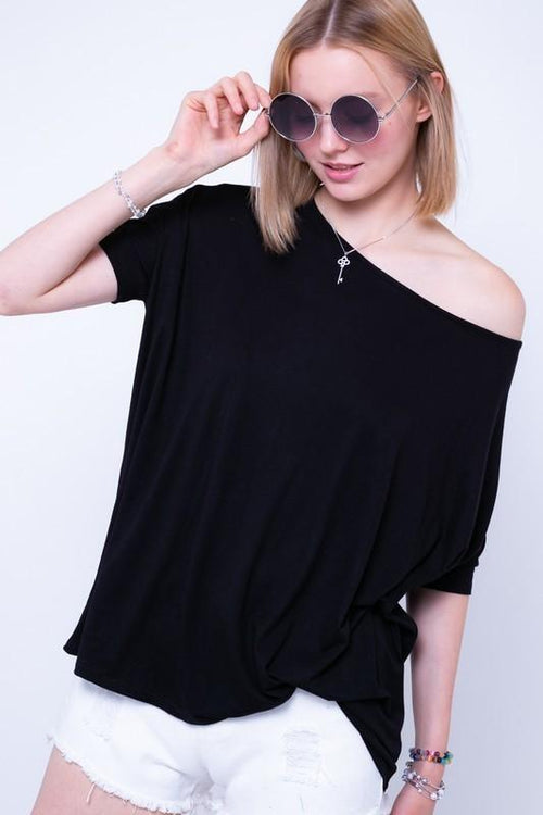 Black Oversize Casual Top