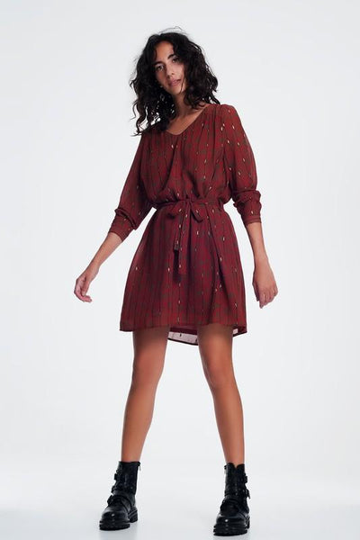 Rust Colored Dress with Belted Waist - THE WEARHOUSE