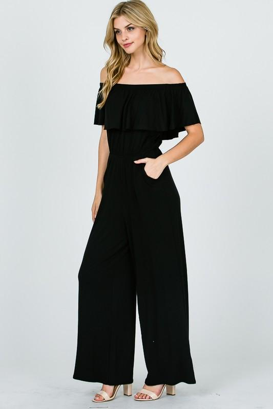Black Off Shoulder Jumpsuit - THE WEARHOUSE