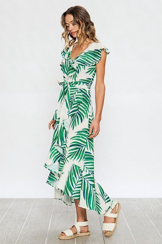 Green and Ivory Palm Leaf Print Maxi Dress