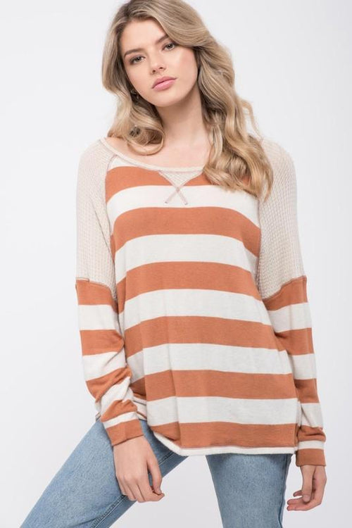Oatmeal and Cognac Long Sleeve Knit Top